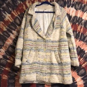 Free People Knitted Rainbow Peacoat